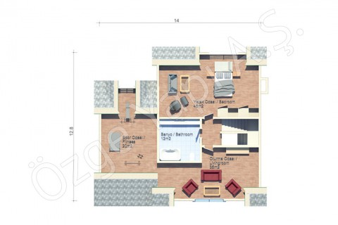 Villa avec architecture à l'américaine - 2ième étage